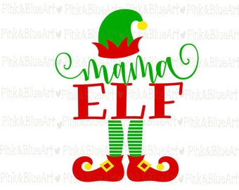 Mama Elf SVG Santa SVG Clipart Cut Files Silhouette Cameo Svg for Cricut and Vinyl File cutting Digital cuts file DXF Png Pdf Eps