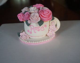 Custom Flowers in Tea Cup, Bouquet in Tea Cup, Tea Party Cake Topper, Custom