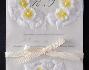 Theme: Affable.  Delicate wedding card, table's tag for the party, and custom favor - for your happy tears. Parchment art, handmade.