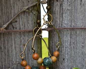 Antique bronze, green and white stone beaded earrings
