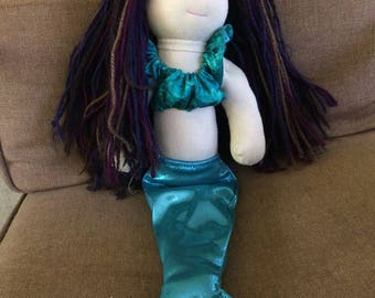"MOLLY, 17"" Waldorf inspired doll with mermaid costume and pj's"