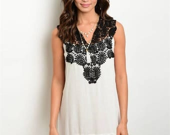 Black and White Lace Bathing Suit Coverup