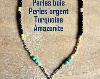 Turquoise necklace and wooden beads