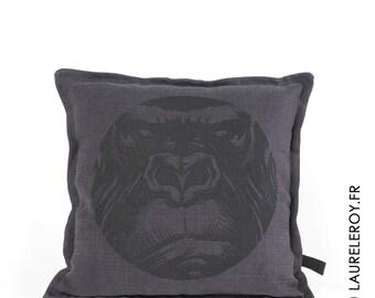 removable carbon grey linen cushion