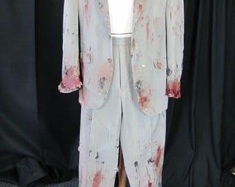 bloody (42) zombie suit, zombie businessman, zombie costume, coat, bloody, undead, living dead, halloween costume, zombie suit. Z9