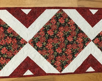 Classic Poinsettia Pre-Cut Christmas Table Runner Quilt Kit
