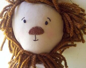 Handmade Lion - plush animal - heirloom doll - clothdoll - ragdoll - lion - nature - kids - children - hand embroidery - kids room -