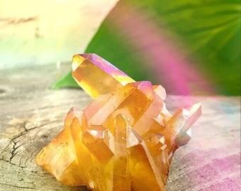 Orange Aura Crystal Cluster - Titanium Crystal Quartz  36g