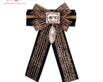 Gold Grosgrain bow brooch,bow brooch,Luxury fashion,Crystal bow brooch,Grosgrain bow brooch,Designer jewelry,Vintage brooch,Dress brooch