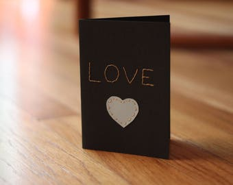 Stitched Love Blank Greeting Card and Envelope - Free Shipping