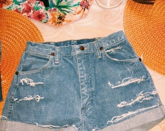 Wrangler high waisted jean shorts