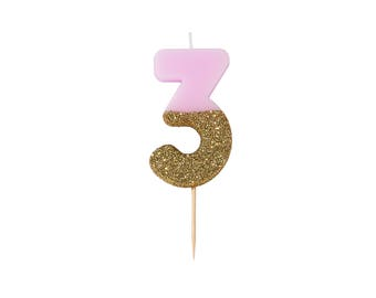 Number 3 Pink Gold Glitter Candle, Age Candles, Birthday Cake Candle, Number Candle, Glitter Candle, Dipped Candle,