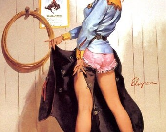 Pinup Cowgirl in size A2, A3 or A4 deco retro, Gil Elvgren.