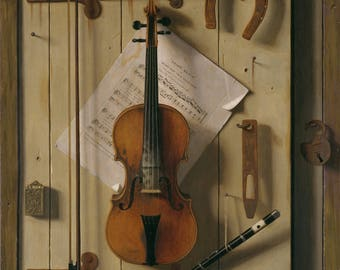 Reproduction of the painting of William Harnett Michaël, violin and music on photo paper glossy 260g.