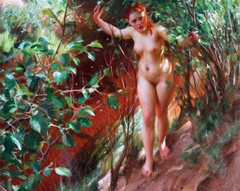 Röd Sand Painting by Anders Zorn Art Print Reproduction