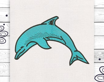 Dolphin embroidery Fish Discount 10% Digital machine embroidery design 4 sizes INSTANT DOWNLOAD EE5074