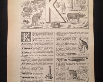 Letter K - Initial Print - Antique French Dictionary Page - Original 1940s Lithograph
