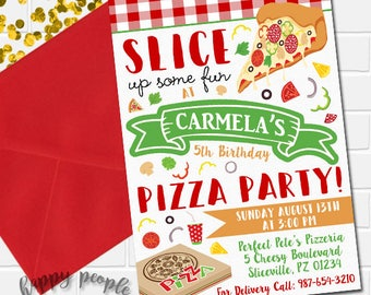 Pizza Party Invitation Pizza Invitation Pizza Birthday Invite Pizza Party Invite Kids Birthday Invitation Pizza Making Party Invitation