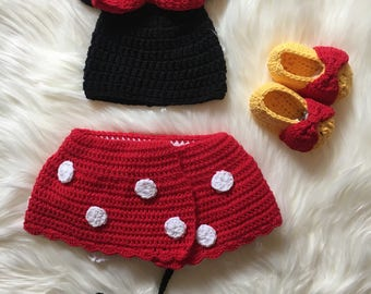 Hand Crochet Minnie Mouse Baby Beanie and nappy cover/ Baby skirt/ Toddler clothing/ Crochet Baby Clothes/ Cotton Baby Knitwear/ Disney