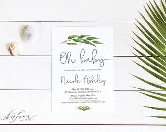 Botanical Baby Shower Invitation, Greenery Baby Shower Invitation, Botanical Watercolor Invitation, Gender Neutral Baby Shower, Oh Baby 003