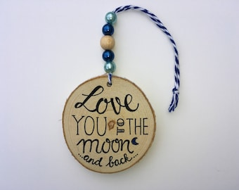 Wooden hanger • MOON • wooden pendant-love you-decoration-decoration-gift for her-beads-beads-really miek