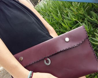Personalized Leather Envelope Clutch Bag, leather envelope pouch, elegant and spacious, burgundy