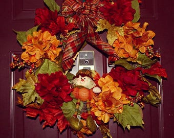 Fall Wreath with Pumpkin Scarecrow