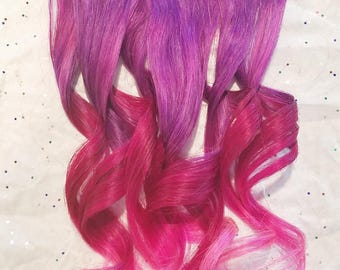 Rainbow Purple Magenta Pink Unicorn Ombre Mermaid Real Human Hair Extensions Clip In Hair Extension Dyed Extensions Festival Hair Weave