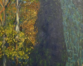 Autumn Plein Air, Mr Jones' garden (no relation) - Landscape oil painting of a Blue Mountains garden with autumn colour in the trees