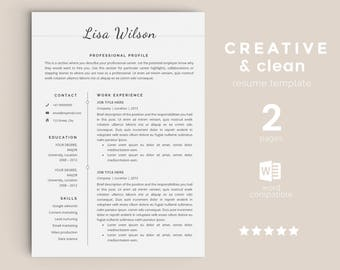 resume template instant download cv template cover letter diy printable professional and - Printable Resume Template