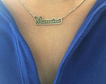 Sterling silver 925/Collier de marraine/godmother necklace/Custom word necklace/Name Jewelry/ Children Names Necklace/ Personalized Necklace