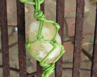 Citrine Organic Green Hemp Wrapped Macrame Crystal Adjustable Necklace