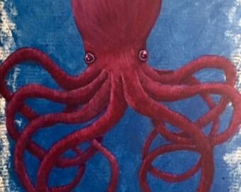 "Acrylic Painting ""Purple Octopus"" (Original)"