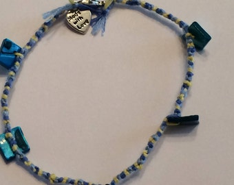Yellow, Dark Blue, and Light Blue Friendship Anklet