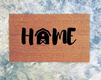 "Barn + Home | Farm Home | Farmhouse | Custom Doormat | 30"" W x 18"" H"