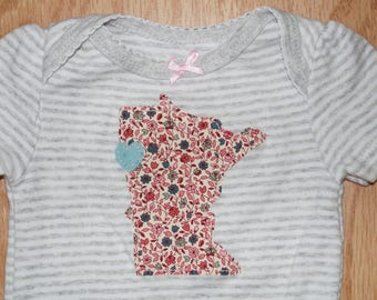 Baby Girl Heart Minnesota Bodysuit