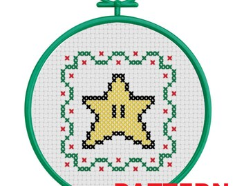 Super Star Christmas Ornament Counted Cross Stitch PATTERN / Super Star Cross Stitch / Mario Star Christmas Ornament Cross Stitch Pattern