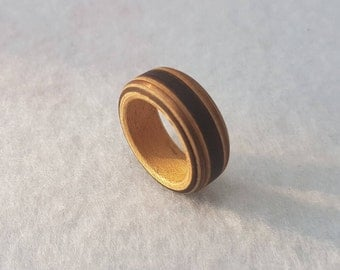 Ring made of wood and copper