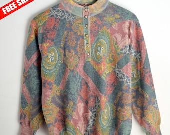 Sweater Lewingel rainbow women M Wool sweater 90s sweater Vintage rainbow Sweater Sweater 90s Vintage Sweater Abstract print Floral print