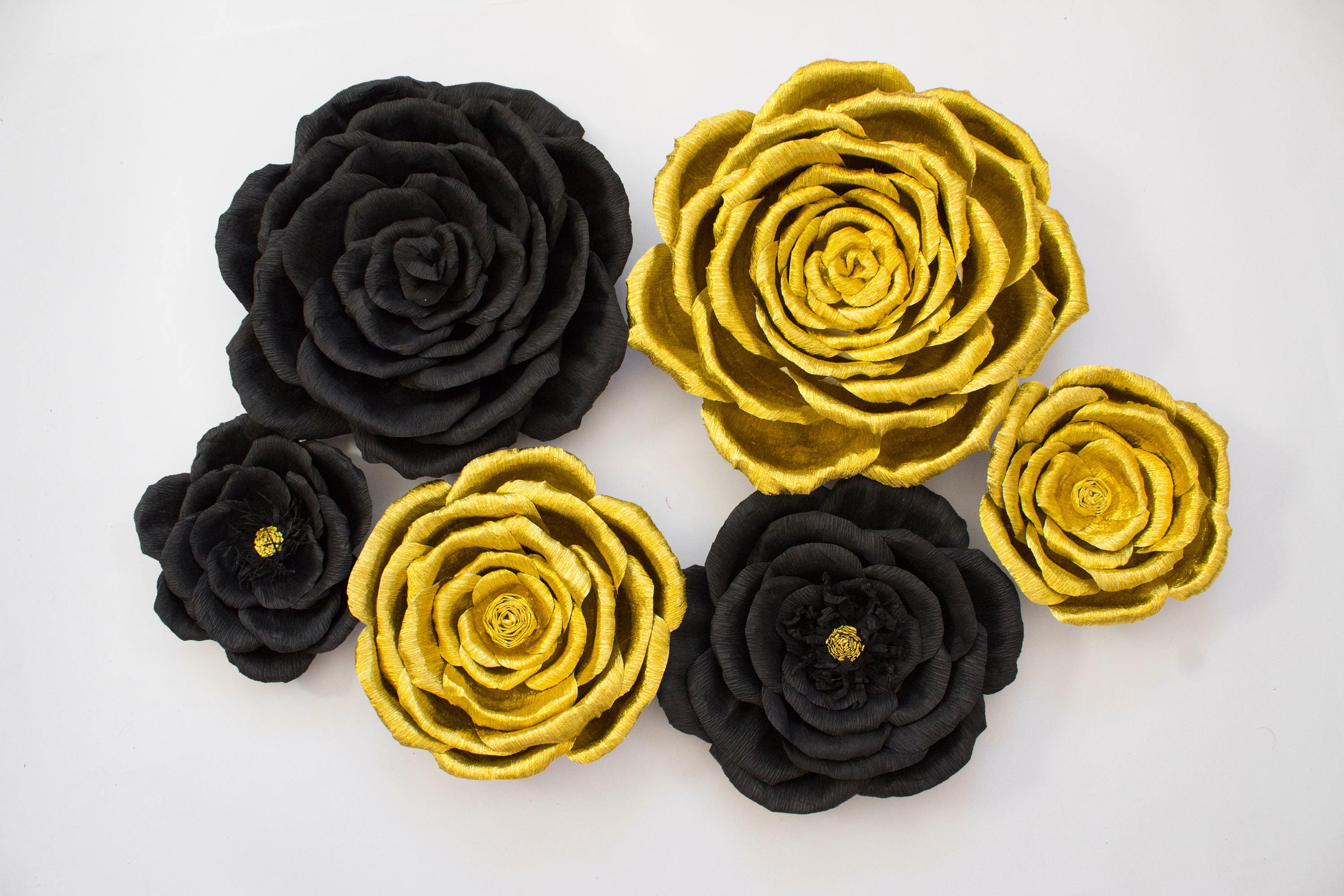 6 Gold And Black Giant Flowers Paper Flower Backdrop Graduation