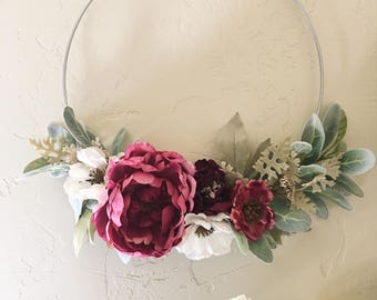 Romantic Floral Wreath - Dark Pink Peony and Lambs Ear
