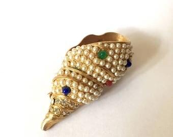 Vintage shell brooch, shell pin, pearl brooch, shell pearl brooch, shell jewelry, pearl jewelry, vintage shell pin, vintage pin, sea jewels
