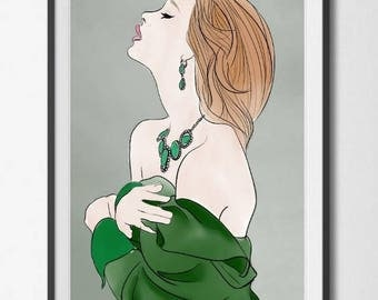 Green Woman Digital art Download