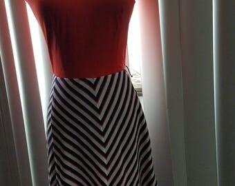 Orange, Blue and White Dress - Size S/M