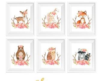 Girl Woodland Nursery Decor, Girl Woodland Animals, Woodland Nursery Creatures, Rustic Nursery, Deer Fox Owl Raccoon Rabbit Bear, Antlers