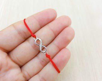 Bracelet. Infinity Sign, 925 Sterling Silver, CZ, red string, adjustable, braided, Kabbalah, good luck, protection, eternity