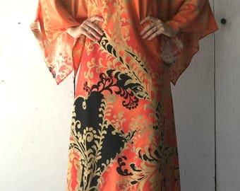 1980's Circle III Kimono Dress | Women's Vintage Kimono Dress | 80's Women's Dress