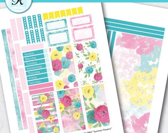 Passion Planner Stickers * Classic Sized Passion Planner * Printable Planner Stickers - SUMMER FLOWERS - Digital Download