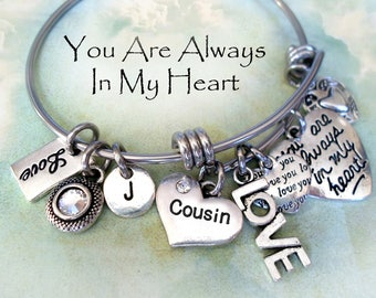 Cousin Bangle Bracelet, Always In My Heart, Swarovski Crystal Birthstone, Initial Charm, Best Birthday Gift, 3 Sizes Small to Large