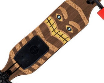 Electric Longboard Skateboard Custom Designs - 700w 4.4AH Battery - Tribal Totem - Walnut Deck